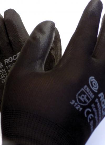 PU tenyérmártott fekete szerelőkesztyű, méret: 11-es